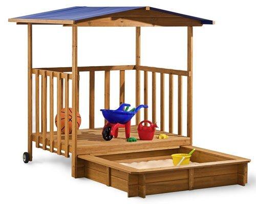 sandkasten mit berdachter spielveranda dach holz neu ebay. Black Bedroom Furniture Sets. Home Design Ideas