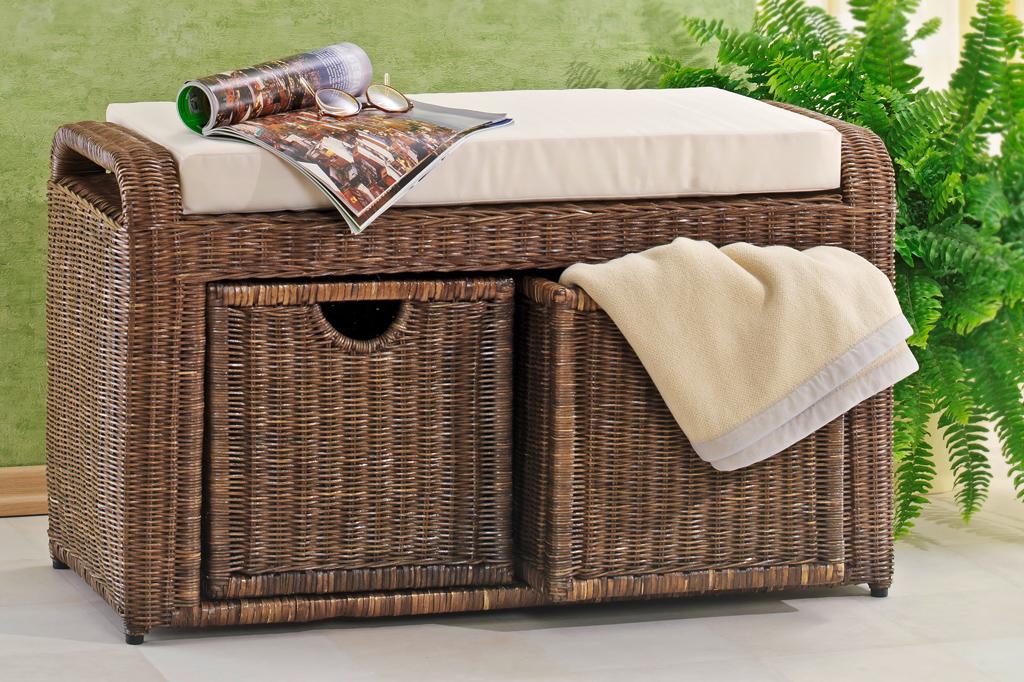 rattanbank sitzbank bank aus rattan mit kissen extra. Black Bedroom Furniture Sets. Home Design Ideas