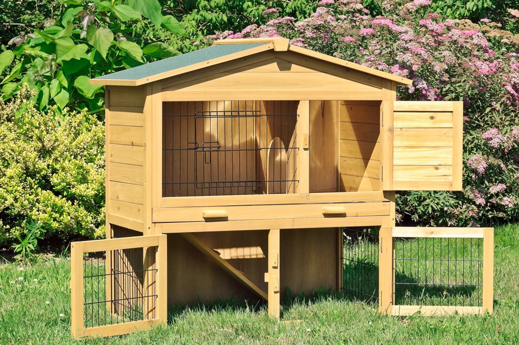 Kaninchenstall Hasenstall XXL Doppelstock mit Zinkwanne | eBay