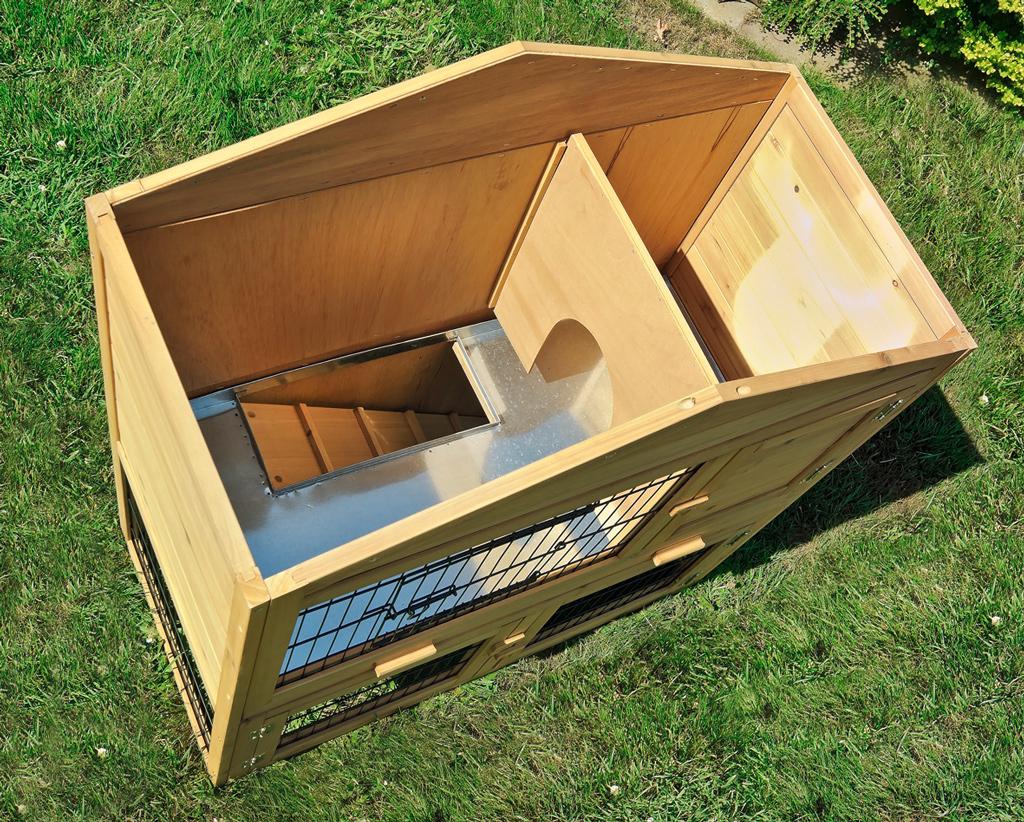 kaninchenstall hasenstall xxl doppelstock mit zinkwanne ebay. Black Bedroom Furniture Sets. Home Design Ideas