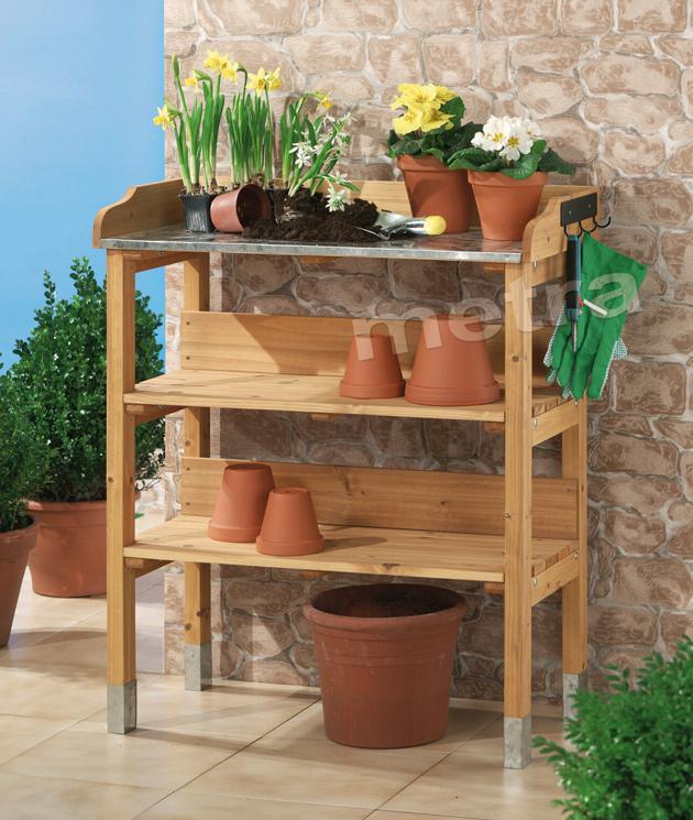 pflanztisch holz pflanzen tisch g rtnertisch zinkplatte ebay. Black Bedroom Furniture Sets. Home Design Ideas