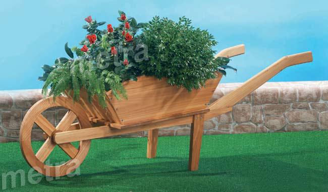 Blumenkarre-Pflanzkarre-Holz-Blumenkuebel-Blumenkasten