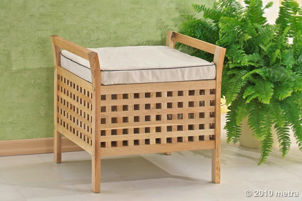 hocker mit sitzkissen w sche sitzhocker walnuss holz. Black Bedroom Furniture Sets. Home Design Ideas