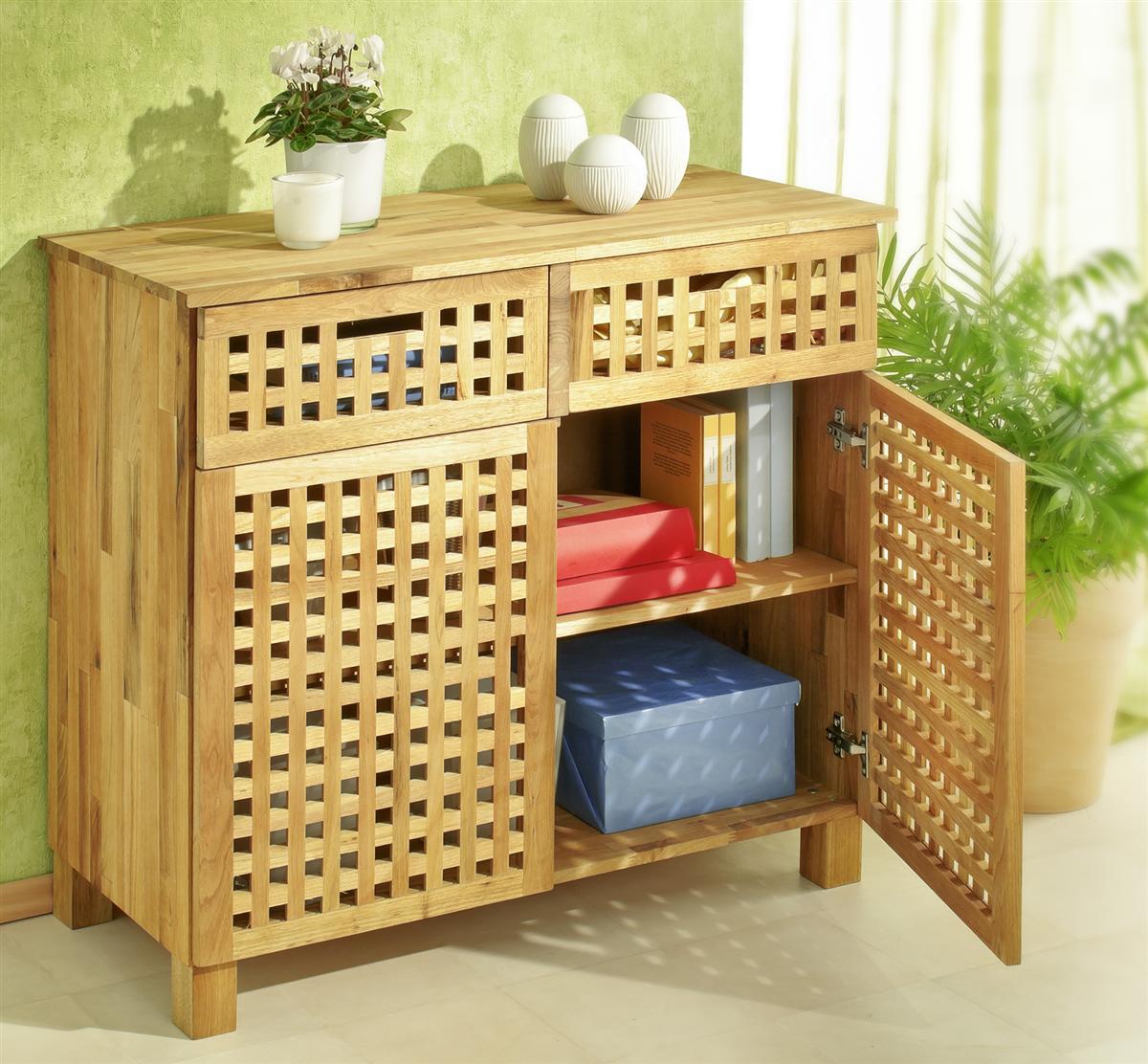 kommode mit 2 schubladen und 2 t ren gitterdesign walnussholz schrank ebay. Black Bedroom Furniture Sets. Home Design Ideas
