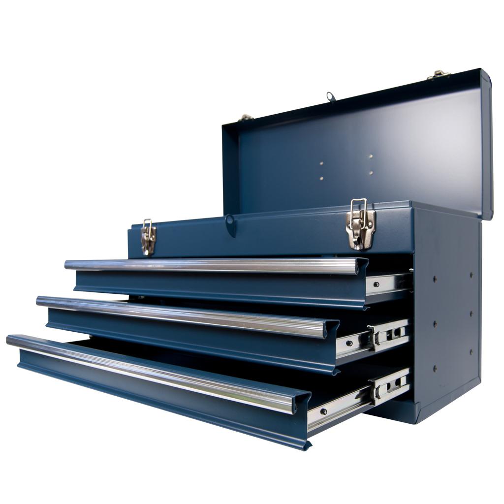 werkzeugkiste klein 3 schubladen kugelgelagert blau aus metall werkzeugkasten ebay. Black Bedroom Furniture Sets. Home Design Ideas