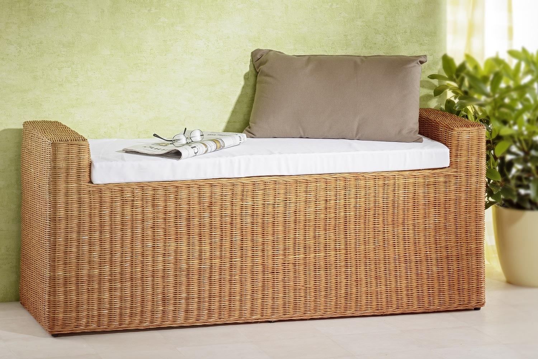 rattanbank helle sitzbank mit armlehnen bank aus rattan mit kissen extra natur ebay. Black Bedroom Furniture Sets. Home Design Ideas